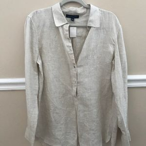 Saks Fifth Avenue Beige Long Sleeve Button Down